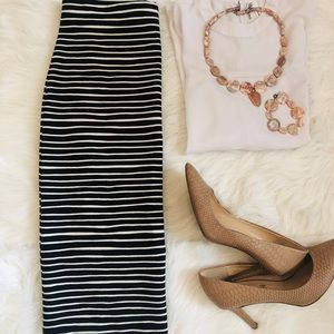 Ann Taylor LOFT Stretchy Striped Pencil Skirt